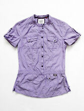 NEW WITHOUT TAG ESPRIT Purple STRIPED Button Front Shirt/Top With Pockets 2