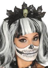 Halloween Gothic Black Leaf Skull Tiara Headpiece