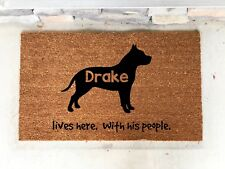 Personalized Pit Bull Pittie Custom Door Mat  Gift Present House Warming Dog