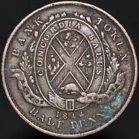 1844 | Canada 'Bank Of Montreal' Sou Half-Penny Token | Tokens | KM Coins