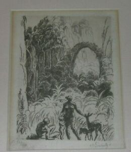 Forested Family Paradise Etching, Max Svabinsky Important Czech Artist
