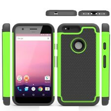 Google Pixel Trekking Handy Tasche Hybrid Football Grain Gummiert Cover Grün