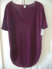 Holiday! Old Navy Updated Heather Burgundy Wine Rounded VNeck TShirt Top M 4 6 S