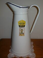 RARE ANTIQUE French Enamelware BODY PITCHER  w. original paper label JAPY FRANCE