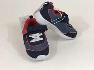 GERBER Shoes Toddler Faux Suede Mesh Strap Athletic Sneakers Size 7 Navy Red