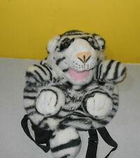 "14"" White Tiger Zippered Backpack Plush Soft Stuffed Animal Front Back Pockets"