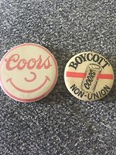 """Vintage Boycott Coors And Coors Button Beer Pin Lot Of 2 Pinback 1 1/2"""""""