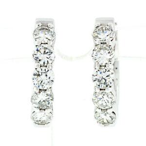 NEW Fancy 14k White Gold 1.70ctw Shared Prong Diamond 18mm Huggie Hoop Earrings