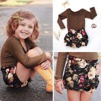 Toddler Baby Kids Girl Clothes Tops T-shirt+Floral Short Pants Outfits 2PCS Set