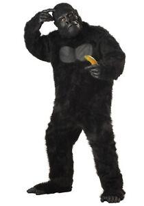 Gorilla Costume Adult 6Pc Black Faux Fur Jumpsuit Mask Hands & Feet Plus Size