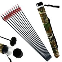 Archery 30'' Spine 500 Carbon Arrows + Quiver Compound Recurve Bow Hunting