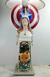 "Dark Art Sculpture ""Sacred Entertainment"" Halloween Lamp By Gargoylery Studio"