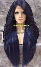 Hand Tied Monofilament Lace Front Full Wig Long Layered Black Blue Heat OK NWT