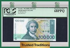 "TT PK 27a 1993 CROATIA 100000 DINARA ""R. BOSKOVIC"" PCGS 68 PPQ SUPERB TOP POP"