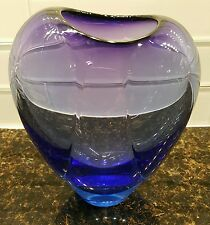 Hand blown purple blue glass vase signed