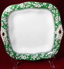 """CROWN STAFFORDSHIRE china A6025 pattern SQUARE HANDLED CAKE serving PLATE 8-3/4"""""""