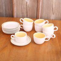 8 Vintage Franciscan Earthenware HACIENDA GOLD Floral Tea Cups & Saucers