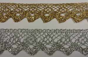 35mm wide Flat Lace with Scalloped edge Metallic Silver or Gold Good quality