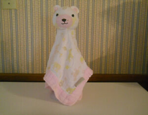 Chick Pea Baby girl security blanket bear white muslin pink trim animal designs