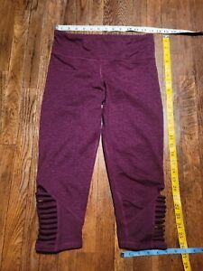 Champion Women's Heathered Dark Pink purple Capri gym pants open leg suits Sz S