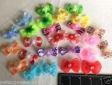Lot 30 Unique Dog Grooming Hair Bows Lg 3D Design with Shiffon Flowers and Beads