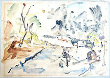 ROBERT BASER ISRAELI PAINTER WATERCOLOR DRAWING ABSTRACT LANDSCAPE SIGNED 1960s