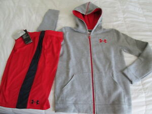 NEW Boys UNDER ARMOUR 2Pc Outfit ALLSEASONGEAR Hoodie+Red Shorts Ylg FREE SHIP