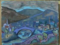 Beau Tableau ancien école Française expressionniste Daniel David paysage Agen N3