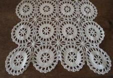"True Vintage Crochet Lace Table Runner Cream Star Wheel Doily 30"" Usa Made"