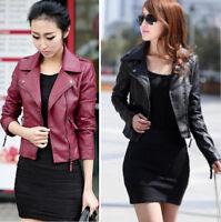 Women's Autumn Winter PU Leather Biker Jacket Coat Zipper Slim Tops Outerwear
