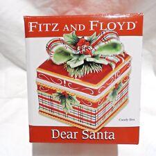 """Fitz And Floyd """"Dear Santa"""" Ceramic Lidded Candy Box Brand New in Box"""