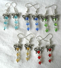 Glass Drop/Dangle Tibetan Silver Costume Earrings