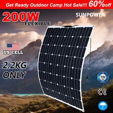 200W FLEXIBLE Solar Panel KIT 12V Generator Caravan Camping Power Charging