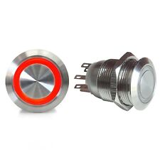 19mm Latching Billet Button with LED Red Ring SW43R hot rod rat truck