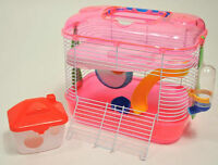 Small Dwarf Hamster Mouse 2 Storey Cage With Silent Wheel Pink Green Orange