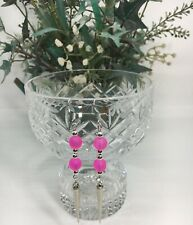 Hot Pink Frosted Glass Beads Long Spike  SS Ear Wires