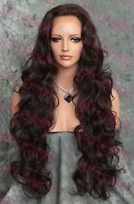 Dark Brown Long Layered Curly Heat Safe Synthetic Hair Lace Front Wig SACH 4