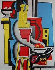 "Original Oil Painting ""Jean & the Bird"" on Canvas 30"" x 24"" (Art/Abstract)"