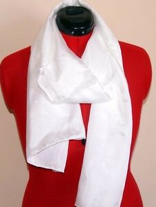 White silk scarf ready for painting or dyeing. 180 x 40 Habotai 8mm 100% silk.