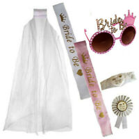 PINK GOLD BRIDE TO BE GLASSES SASH GARTER ROSETTE VEIL HEN NIGHT PARTY DO