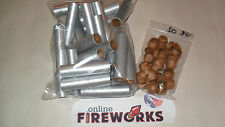 25 Silver 3/4 x 3 1/2 x 3/32 inch Paper Fireworks Tubes + 50 Free Plugs  Free SH