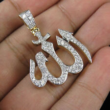 Natural 1.02 Ct. Pave Diamond ALLAH Sign Pendant 925 Sterling Silver Jewelry