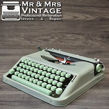 Serviced Portable Hermes Baby Typewriter Working Black Red Ribbon Green Keys