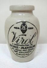 "Antique Victorian Stoneware Virol Bone Marrow Jar Decanter Crock 4"" T15"
