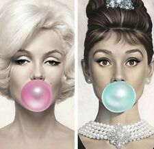 Two Framed Prints - Audrey Hepburn & Marilyn Monroe Blowing Bubbles (Pictures)