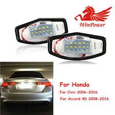 2x For Honda Civic Accord 4D 2008-2016 Led License Number Tail Plate Frame Light