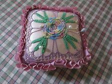 Vintage Antique Crochet Pin Cushion Hat Pin Holder Satin Silk Pastels Green Rose