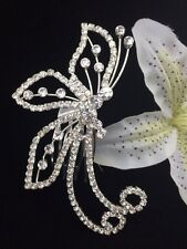 Bridal Prom Flower Girl Butterfly Hair Jewelry Comb Clear Crystal Silver Tone