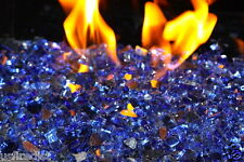 """1/4"""" - Reflective Fireglass Cobalt Blue Fire Pit Glass 30 Lbs Fireplace"""