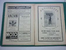 2/1909 PUB AEROPLANE MOTEUR ANTOINETTE PUTEAUX / ANZANI REMINGTON TYPEWRITER AD